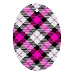 Smart Plaid Hot Pink Ornament (oval)  by ImpressiveMoments