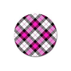Smart Plaid Hot Pink Magnet 3  (round) by ImpressiveMoments