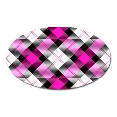Smart Plaid Hot Pink Oval Magnet by ImpressiveMoments