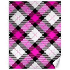 Smart Plaid Hot Pink Canvas 18  X 24   by ImpressiveMoments