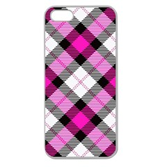 Smart Plaid Hot Pink Apple Seamless Iphone 5 Case (clear) by ImpressiveMoments