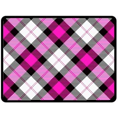 Smart Plaid Hot Pink Double Sided Fleece Blanket (large)  by ImpressiveMoments