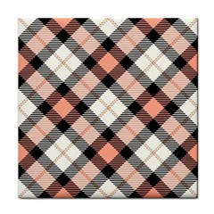 Smart Plaid Peach Tile Coasters by ImpressiveMoments