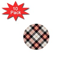 Smart Plaid Peach 1  Mini Buttons (10 Pack)  by ImpressiveMoments