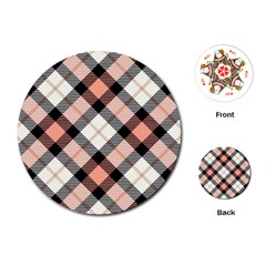 Smart Plaid Peach Playing Cards (round)  by ImpressiveMoments