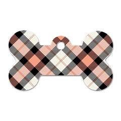 Smart Plaid Peach Dog Tag Bone (one Side) by ImpressiveMoments