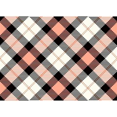 Smart Plaid Peach Birthday Cake 3d Greeting Card (7x5)