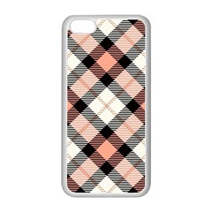 Smart Plaid Peach Apple Iphone 5c Seamless Case (white) by ImpressiveMoments