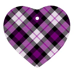 Smart Plaid Purple Heart Ornament (2 Sides) by ImpressiveMoments