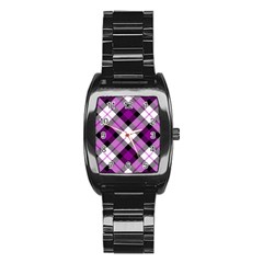 Smart Plaid Purple Stainless Steel Barrel Watch by ImpressiveMoments