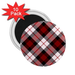 Smart Plaid Red 2 25  Magnets (10 Pack)  by ImpressiveMoments