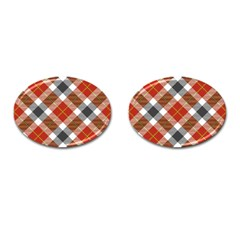 Smart Plaid Warm Colors Cufflinks (oval) by ImpressiveMoments
