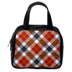 Smart Plaid Warm Colors Classic Handbags (one Side) by ImpressiveMoments