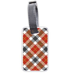 Smart Plaid Warm Colors Luggage Tags (One Side)  by ImpressiveMoments