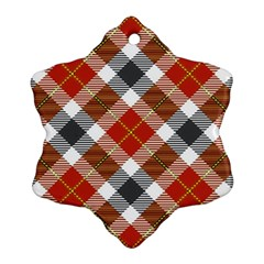 Smart Plaid Warm Colors Snowflake Ornament (2 Side)