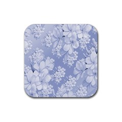 Delicate Floral Pattern,blue  Rubber Square Coaster (4 Pack)  by MoreColorsinLife