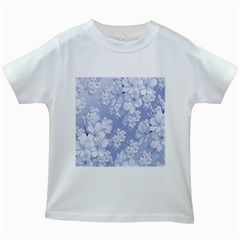 Delicate Floral Pattern,blue  Kids White T-Shirts