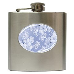 Delicate Floral Pattern,blue  Hip Flask (6 Oz) by MoreColorsinLife