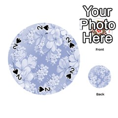 Delicate Floral Pattern,blue  Playing Cards 54 (round)