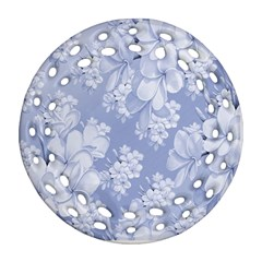 Delicate Floral Pattern,blue  Round Filigree Ornament (2side) by MoreColorsinLife