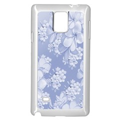 Delicate Floral Pattern,blue  Samsung Galaxy Note 4 Case (white) by MoreColorsinLife