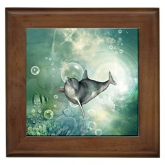 Funny Dswimming Dolphin Framed Tiles