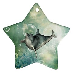 Funny Dswimming Dolphin Ornament (star)