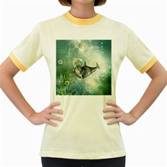 Funny Dswimming Dolphin Women s Fitted Ringer T Shirts