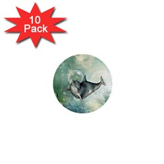 Funny Dswimming Dolphin 1  Mini Buttons (10 Pack)