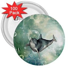 Funny Dswimming Dolphin 3  Buttons (100 Pack)  by FantasyWorld7