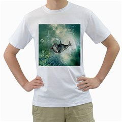 Funny Dswimming Dolphin Men s T Shirt (white) (two Sided)
