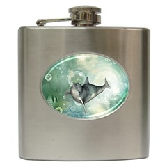Funny Dswimming Dolphin Hip Flask (6 Oz)