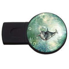 Funny Dswimming Dolphin Usb Flash Drive Round (4 Gb)