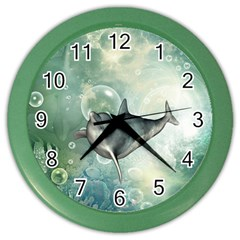 Funny Dswimming Dolphin Color Wall Clocks