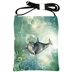 Funny Dswimming Dolphin Shoulder Sling Bags by FantasyWorld7