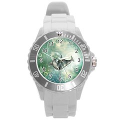 Funny Dswimming Dolphin Round Plastic Sport Watch (l)