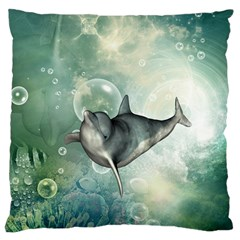 Funny Dswimming Dolphin Large Cushion Cases (one Side)