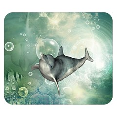 Funny Dswimming Dolphin Double Sided Flano Blanket (small)  by FantasyWorld7