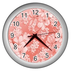 Delicate Floral Pattern,pink  Wall Clocks (silver)  by MoreColorsinLife