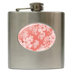 Delicate Floral Pattern,pink  Hip Flask (6 Oz) by MoreColorsinLife