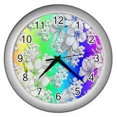 Delicate Floral Pattern,rainbow Wall Clocks (silver)  by MoreColorsinLife