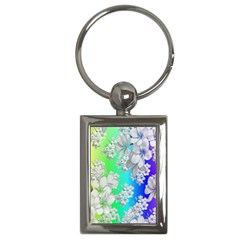 Delicate Floral Pattern,rainbow Key Chains (rectangle)  by MoreColorsinLife