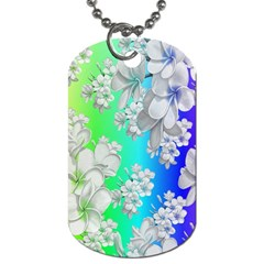 Delicate Floral Pattern,rainbow Dog Tag (two Sides) by MoreColorsinLife