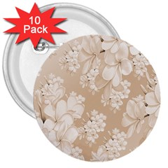Delicate Floral Pattern,softly 3  Buttons (10 pack)  by MoreColorsinLife
