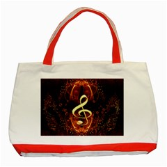 Decorative Cllef With Floral Elements Classic Tote Bag (red)  by FantasyWorld7