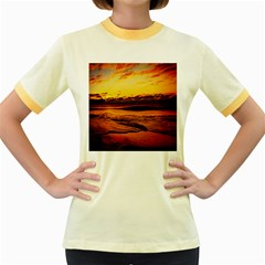 Stunning Sunset On The Beach 2 Women s Fitted Ringer T Shirts by MoreColorsinLife