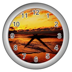 Stunning Sunset On The Beach 2 Wall Clocks (silver)  by MoreColorsinLife