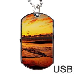 Stunning Sunset On The Beach 2 Dog Tag Usb Flash (two Sides)  by MoreColorsinLife