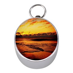 Stunning Sunset On The Beach 2 Mini Silver Compasses by MoreColorsinLife