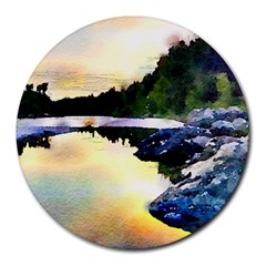 Stunning Nature Evening Round Mousepads by MoreColorsinLife